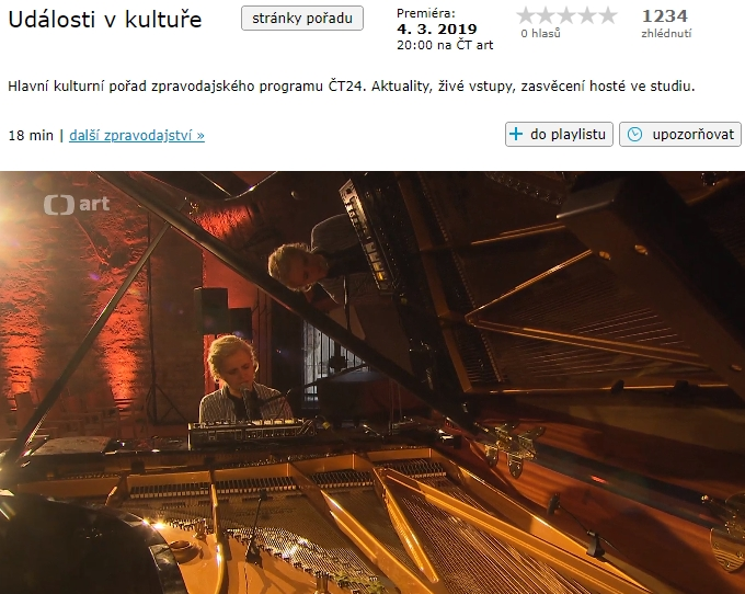Czech TV – ČT Art – video invitation for concert at Anežský klášter, March 4,2019