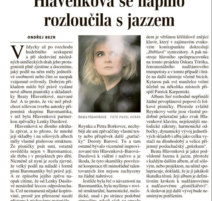 Hlavenková se naplno rozloučila s jazzem – recenze Ondřeje Bezra